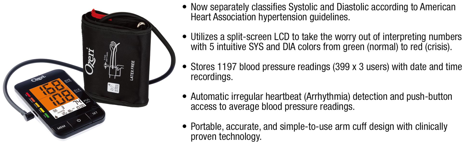 Ozeri BP9W Arm Blood Pressure Monitor with Split-Screen Hypertension Color Alert Technology