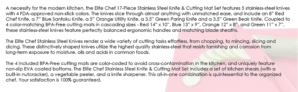 Ozeri Elite Chef 15-Piece Stainless Steel Knife & Cutting Mat Set, in Color