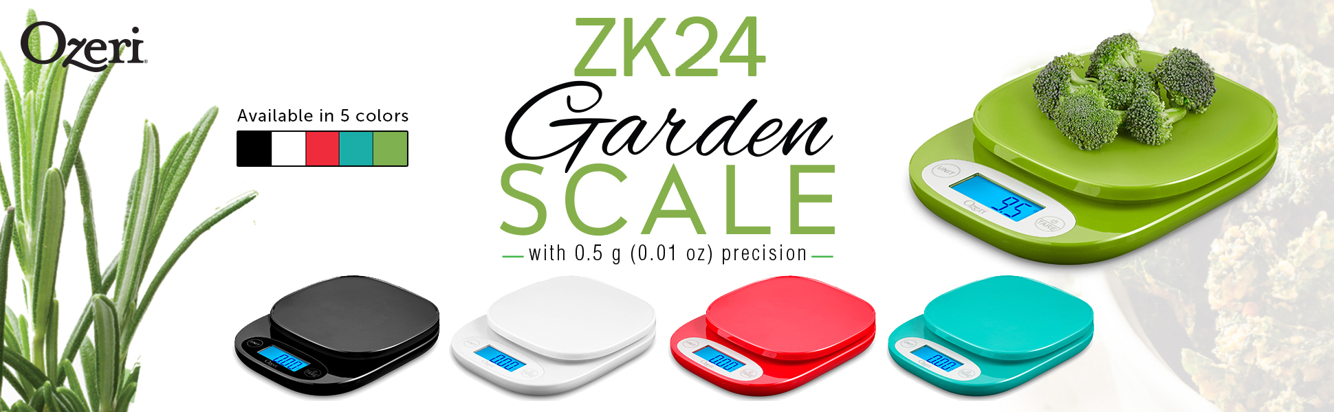 Ozeri ZK24 Garden and Kitchen Scale, with 0.5 g (0.01 oz) Precision Weighing Technology, in Black